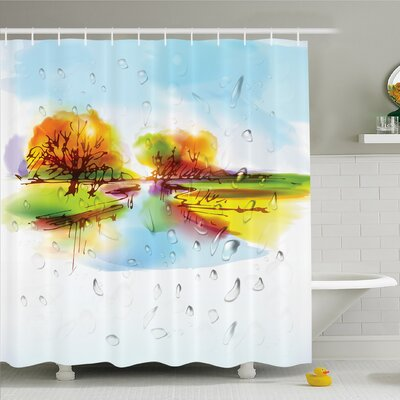 Home Vibrant Fall Landscape in Pastoral Nature with Reflections Meadow Field Rural Scene Shower Curtain Set Size: 70 H x 69 W