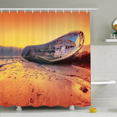 Ocean Scrapped Old Rusty Ruined Damaged Ship Sitting on the Sandy Beach Dramatic Scenery Shower Curtain Set Size: 75 H x 69 W