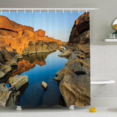 House Secret Small Ravine between Pairs of Cliffs Erosion of River Carved Scene Shower Curtain Set Size: 75 H x 69 W