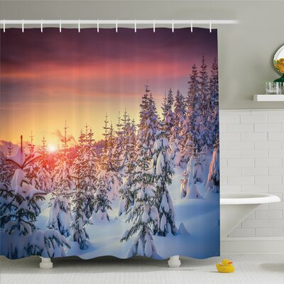 Winter Snowy Landscape at Gloomy Sunrise Light in Mountain Forest Serene Photo Shower Curtain Set Size: 75 H x 69 W