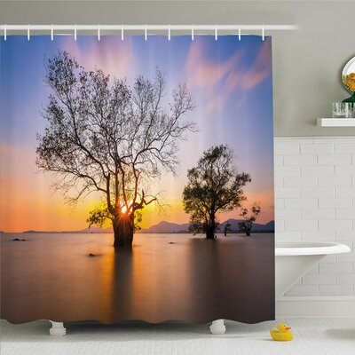 Scenery House Dawn Time at Asian Seascape with Autumn Trees in Water Habitat Shower Curtain Set Size: 84 H x 69 W