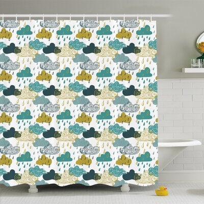 Home Several Spiral Vortex and Grunge Clouds Rain September Icon Shower Curtain Set Size: 70 H x 69 W