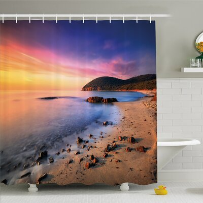 Scenery House Famous Mediterranean Sun Rise on the Beach with Pebbles Tourism Serene Print Shower Curtain Set Size: 84 H x 69 W