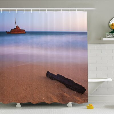 Ocean Shipwreck on Beach at Dusk in South Australian Lands by the Sea Shore Shower Curtain Set Size: 84 H x 69 W