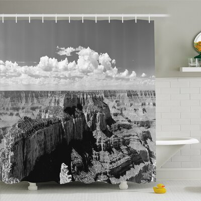House Nostalgic Photo of Ethnic Finding Grand Canyon Peaks in National Park with Cloud Shower Curtain Set Size: 70 H x 69 W