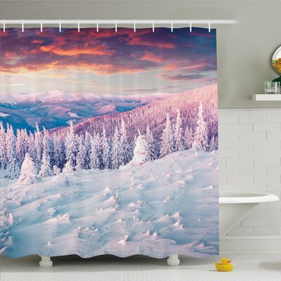 Winter European Mountain Pine Forest with Sky Colors Overcast Windy Fresh Image Shower Curtain Set Size: 84 H x 69 W