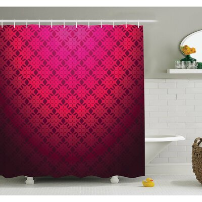Damask Textured Embellished Geometric Figures Romantic Style Vintage Art Print Shower Curtain Set Size: 70 H x 69 W