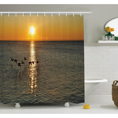 Carylon Geese Flying Over Lake Shower Curtain Set Size: 84 H x 69 W