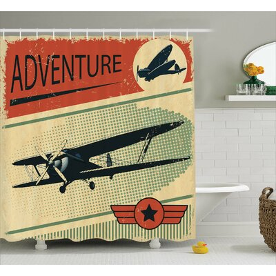 Nostalgic Small on Dotted Grunge Backdrop Military Adventure Airpark Plane Graphic Shower Curtain Set Size: 70 H x 69 W