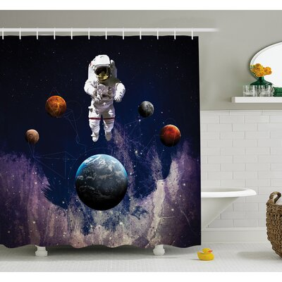 Outer Space Astronaut with Planets Globe Satellite Energy Eternity Theme  Shower Curtain Set Size: 75 H x 69 W