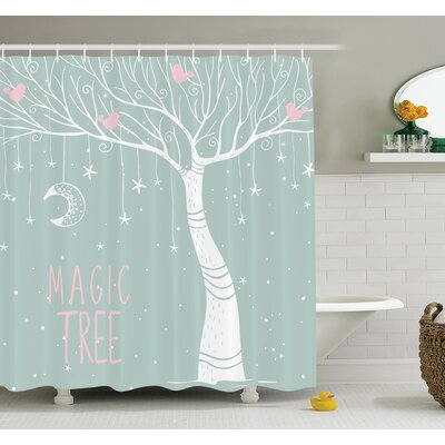 Tree Stars Moon Pastel Colored Shower Curtain Set Size: 84 H x 69 W