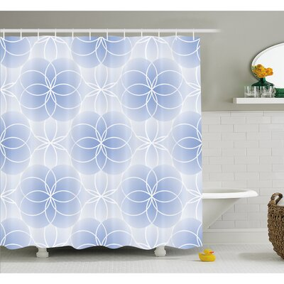 Proportion of the World Figure with Intersecting Concentric Spiral Art Shower Curtain Set Size: 75 H x 69 W