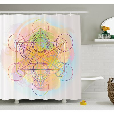 Psychedelic Flower of Life with Modern Hallucinatory Hexagon Artwork Shower Curtain Set Size: 84 H x 69 W
