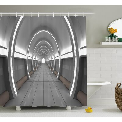 Outer Space Galactic Place with Oval Shaped Ceiling Force Alien Life Apollo Comics Graphic  Shower Curtain Set Size: 84 H x 69 W