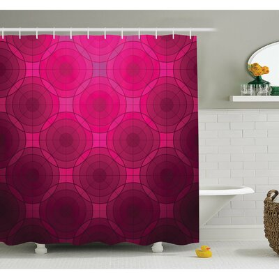 Disc Shaped Fluid Dynamics Circular Spherical Forms Whirls Rings Print Image Shower Curtain Set Size: 84 H x 69 W