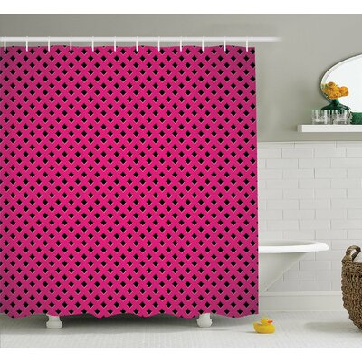 Diamond Line Grill Cross Wire Design Logo Digital New Fashion Motif Image Shower Curtain Set Size: 70 H x 69 W