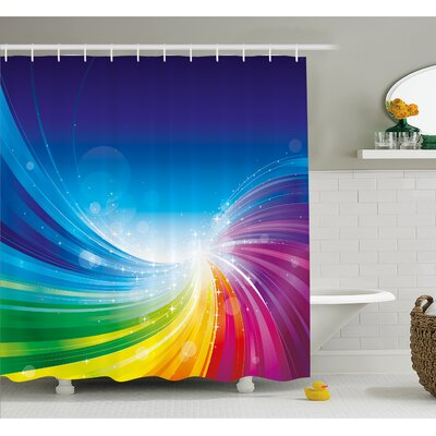 Funky Pop Art Stylized Radiant Lines in Wave-Like Color Reflections Image Shower Curtain Set Size: 84 H x 69 W