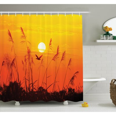 Nature Flying Birds at Dusk Shower Curtain Set Size: 75 H x 69 W