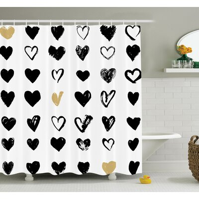 Junya Heart Icons Grunge Art Shower Curtain Set Size: 75 H x 69 W