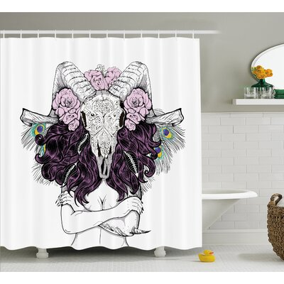 Skull Tribal Horned Goat Head and Peacock Feather Mystic Voodoo Pattern Shower Curtain Set Size: 75 H x 69 W