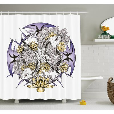 Skull Pisces Fish with Lotus Flowers Traditional Eastern Symbolic Religious Shower Curtain Set Size: 70 H x 69 W