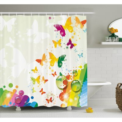 Silhouettes of Butterflies Freedom Icons of the Nature Festival Artwork Shower Curtain Set Size: 84 H x 69 W