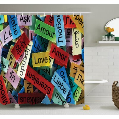 Junya Romance Valentines Words Shower Curtain Set Size: 84 H x 69 W