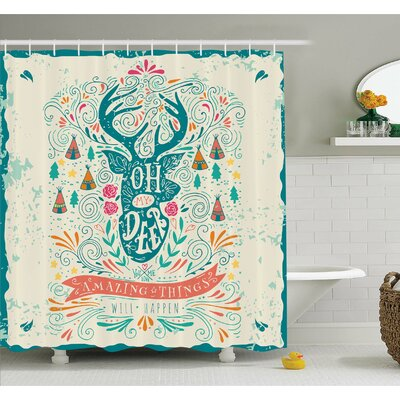 Reindeer with Antlers with Native American Tribal Element and Flowers Motivational Shower Curtain Set Size: 84 H x 69 W