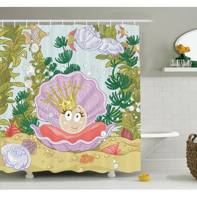 Lizbeth Cartoon Pearl on Shell Shower Curtain Set Size: 70 H x 69 W
