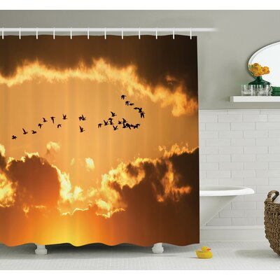 Carylon Bird Flying At Sunset Freedom Shower Curtain Set Size: 70 H x 69 W