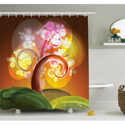 Tree Magic Forest Lights Art Shower Curtain Set Size: 84 H x 69 W