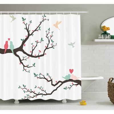 Love Retro Birds on Branch Art Shower Curtain Set Size: 70 H x 69 W