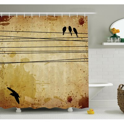 Birds on Cable Grunge Shower Curtain Set Size: 75 H x 69 W