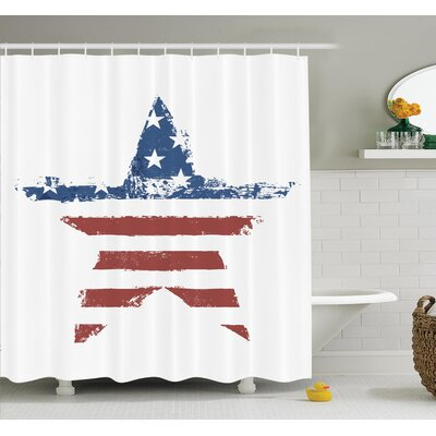 Stars Stripes Shower Curtain Set Size: 84 H x 69 W