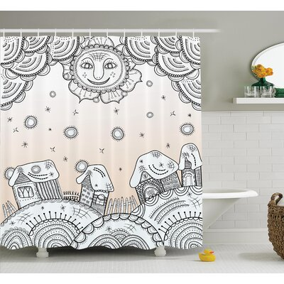 Lizbeth Sun Clouds and Houses Shower Curtain Set Size: 75