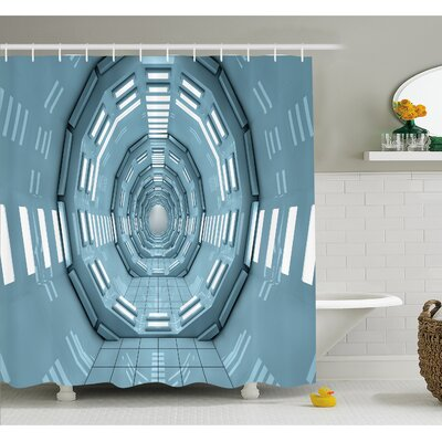 Outer Space Spaceship Earth Corridor Adventure to Cosmos UFO Lands Architecture Walls  Shower Curtain Set Size: 75 H x 69 W