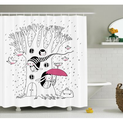 Kids Birds Rabbits Tree Rainy Shower Curtain Set Size: 75 H x 69 W