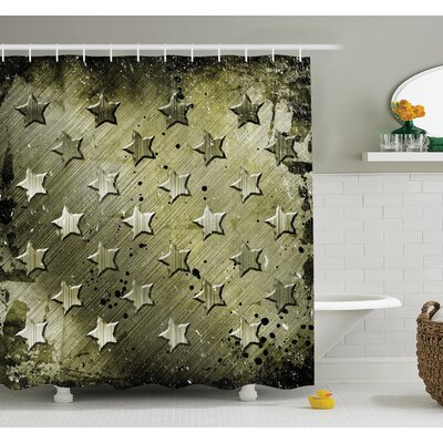 American Military Grunge Stars Shower Curtain Set Size: 75