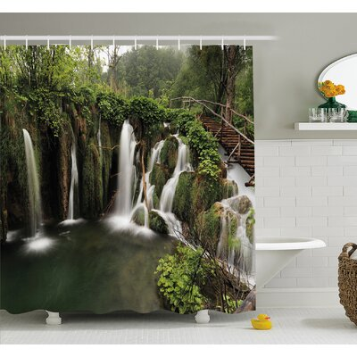 Waterfall Circled in Croatia with a Rustic Wood Cute Bridge Shower Curtain Set Size: 75 H x 69 W
