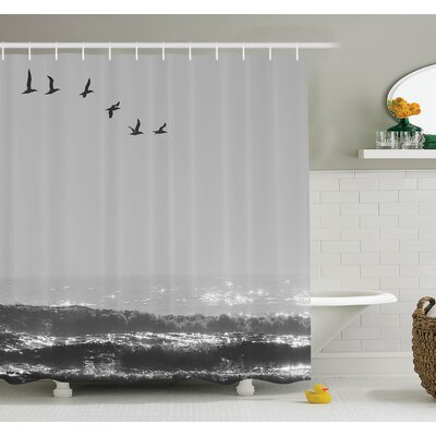 Flying Birds on Wavy Sea Shower Curtain Set Size: 70 H x 69 W