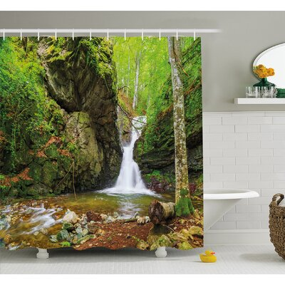 Waterfall in Spring like Winter in Bulgaria with Trees and Bushes Shower Curtain Set Size: 70 H x 69 W
