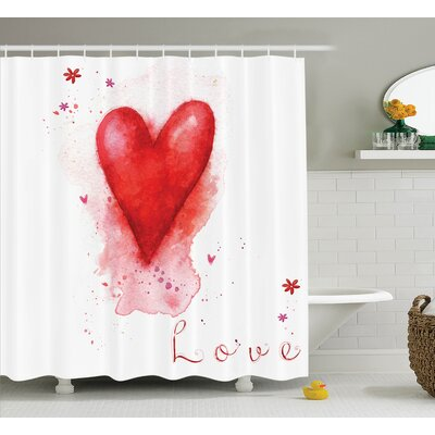 Junya Watercolor Effect Heart Shower Curtain Set Size: 70 H x 69 W