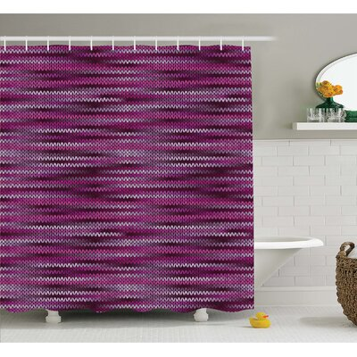 Vintage Knit Pattern Featured Variations of Tone Nostalgic Vivid Art Shower Curtain Set Size: 70 H x 69 W