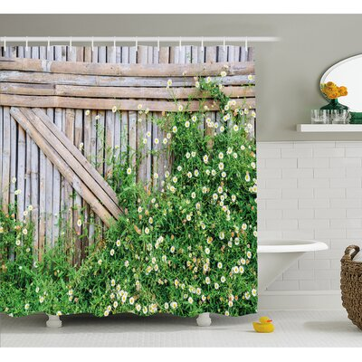 Farm House Bamboo Fence Covered by Ivy Daisy Flower Blooms Chamomile Petals Picture Shower Curtain Set Size: 75 H x 69 W