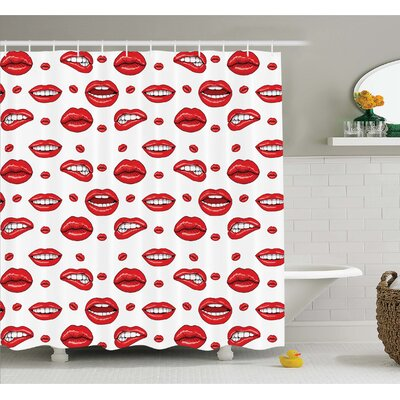 Various Lip Forms in Several Gestures Shower Curtain Set Size: 84 H x 69 W