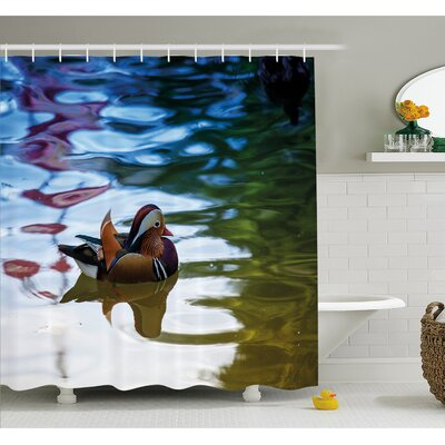 Wildlife Chinese Mandarin Ducks Sail in River East Asian Winged Creature Peace Habitat Shower Curtain Set Size: 84 H x 69 W