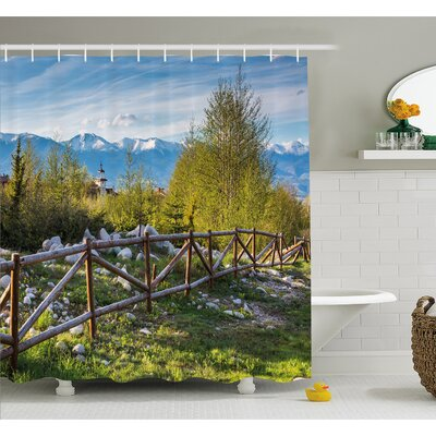 Farm House Idyllic Scene with Tree Trunk Plank and Snow Mountain Range the Alps Photo Shower Curtain Set Size: 84 H x 69 W