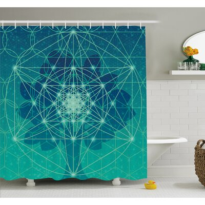 Tree of Life Icon with Space Plains Archaic Pattern Shower Curtain Set Size: 75