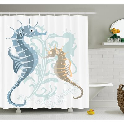 Animal Pair of Little and Big Fishes in Soft Tones Featured Design Tropical Creatures Shower Curtain Set Size: 75 H x 69 W