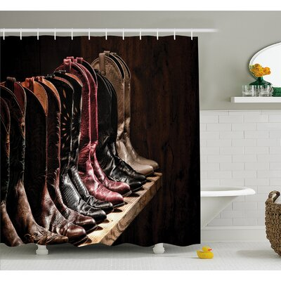 Western Various Type of Embellished Rodeo Fancy Leather Boots Collection Image Shower Curtain Set Size: 84 H x 69 W